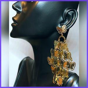 🏷 🆕 Noir Cascading Butterly Gold Dangle Earrings